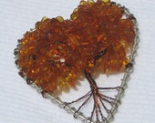 Amber Chip Tree of Life, Heart Shaped Frame