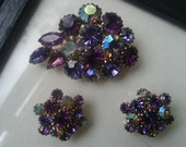 Passionate About Purple Vintage Rhinestone Earrings an Brooch