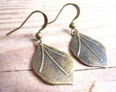 Orla Vintage Garland Leaf Earrings in Brass