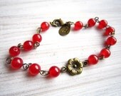 Lauren Vintage Bloom Bracelet in Red Jade and Brass