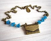 Daisi Love Note Envelope Locket in Sea Blue and Brass