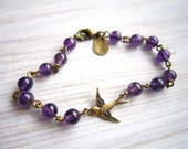 Lauren Vintage Swallow Bracelet in Amethyst and Brass