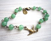 Lauren Vintage Swallow Bracelet in Green Chalcedony and Brass