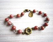 Lauren Vintage Bloom Bracelet in Pink Rhodonite and Brass