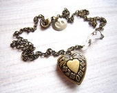 Kara Vintage Love Heart Locket in Snow White and Brass