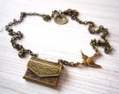 Jasmine II Love Note with Swallow Envelope Locket Brass