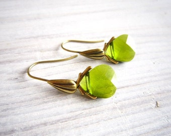Lili Teardrop Swarovski Earrings in Olivine and Gold