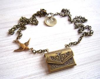 Jasmine Love Note with Swallow Envelope Locket Brass