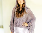 KATE hand knitted poncho with hood in pewter