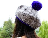 POMPOM beret tam hand knit grey and royal blue wool chunky slouchy hat