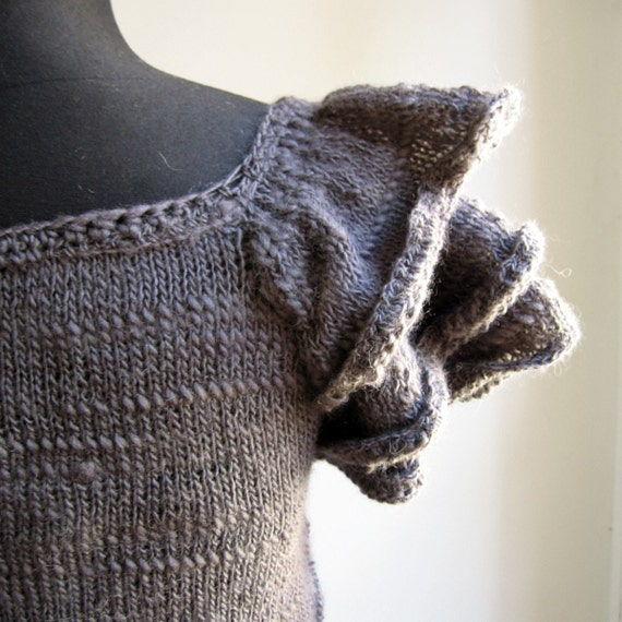 CLAIRE hand knitted cardigan with ruffles in dark grey