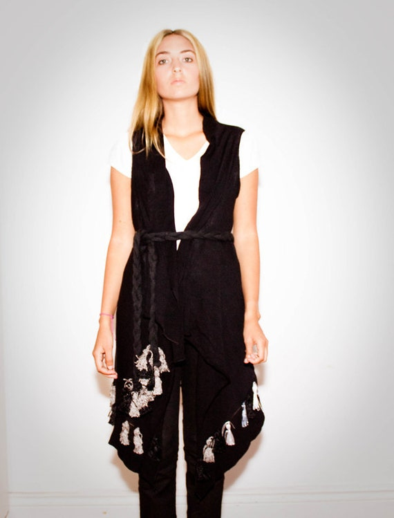 ON SALE cover-up vest MATHILDA black handloom with tassels and braided belt