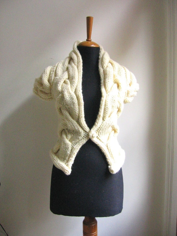 RITA hand knitted bolero vest cardigan in cream
