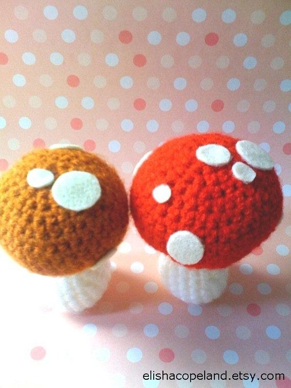 Set of 2 Crochet Mushrooms
