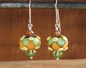 Harlequin Bead Earrings - Orange, Green, Yellow and Brown - Sterling Silver