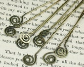 Hand Hammered (6) Brass Spiral Head Pins (4 inch)