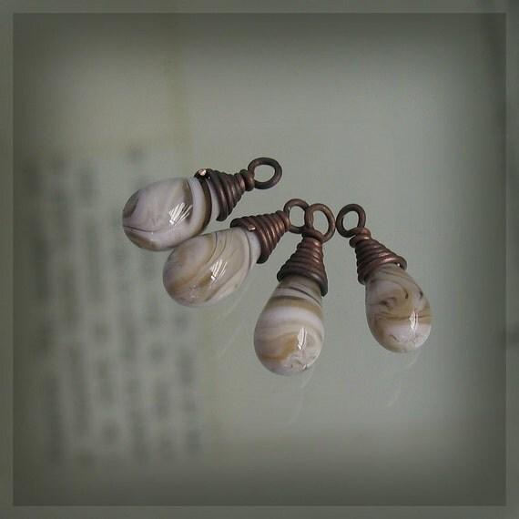 Handmade Glass Dangle / Charms, White and Tan Swirls, Set of 4