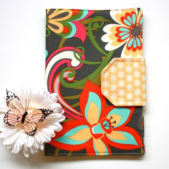 Nook Color, Nook Tablet Cover E-Reader Case in Olive, Large Cabana Blooms, Ready to Ship