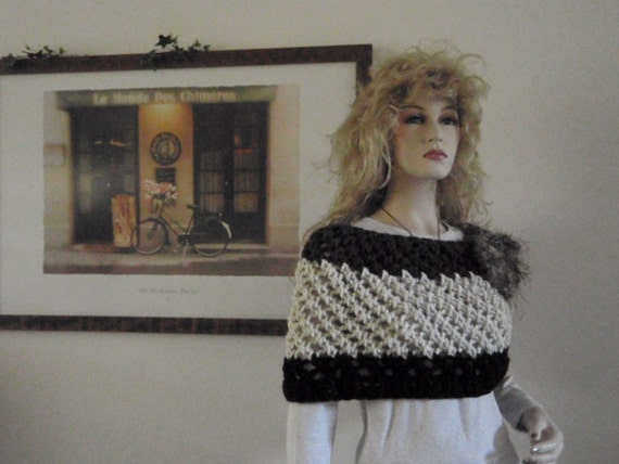Brown - Oatmeal - Black Lacy Capelet