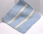 FREE SHIPPING - Blue Mohair Blanket with Cream Stripes