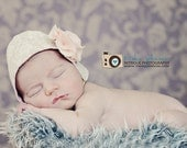 Vintage Inspired Lace Bonnet with Flower