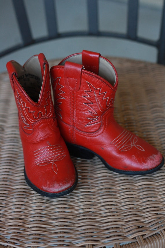 Baby Girl Red Cowboy Boots size 5