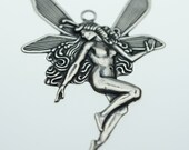 Trinity Brass Antique Silver Large Fairy Pendant