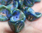 Blue Terracota Czech 3 Petal Bead - Bead Cap