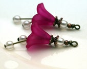 Vintage Style Dark Pink Lucite Flower and White Cloud Czech Bead Dangle Charm Drop Set - 2 Pieces