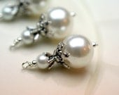 Vintage Style White Pearl Large Pendant Bead Dangle Drop Charm Set - 4 Piece