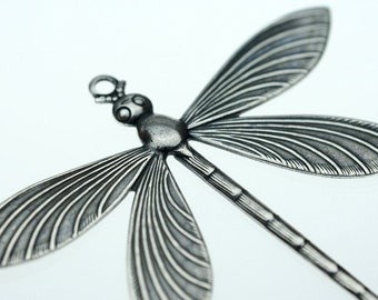 Trinity Brass Antique Silver Victorian Dragonfly Pendant