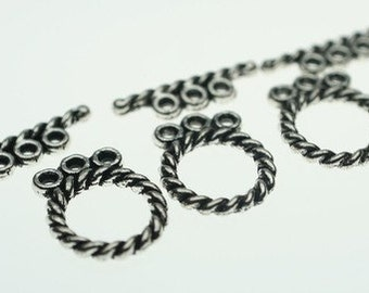 Antique Silver Twisted 3 Row Toggle Clasp - 3 Sets
