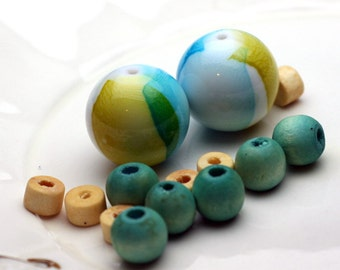 14 Piece Porcelain and Wood Bead Jewelry Starter Set