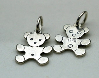 Sterling Silver Teddy Bear Charm - 2 Pieces Double Sided
