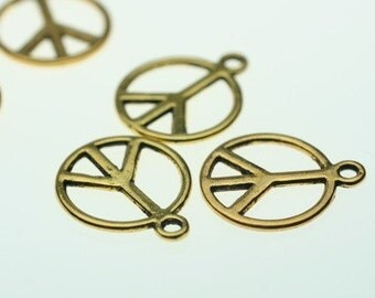 14mm Goldtone Peace Charms 12 Pcs