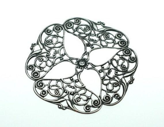 Trinity Brass Antique Silver Openwork Petal Filigree Stamping