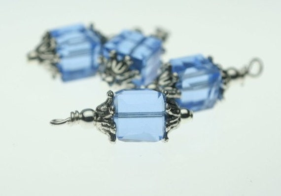 6 Piece Antique Silver Blue Square Cube Bead Dangle Drop Set