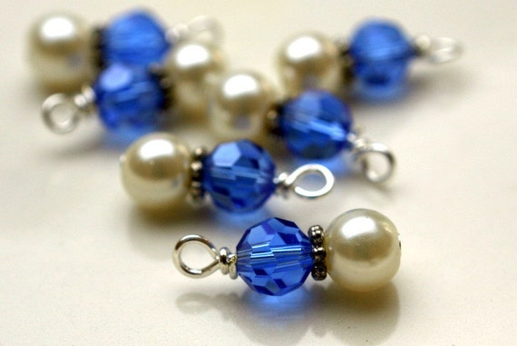 6 Piece Royal Blue and Pearl Charm Dangle Drop Set
