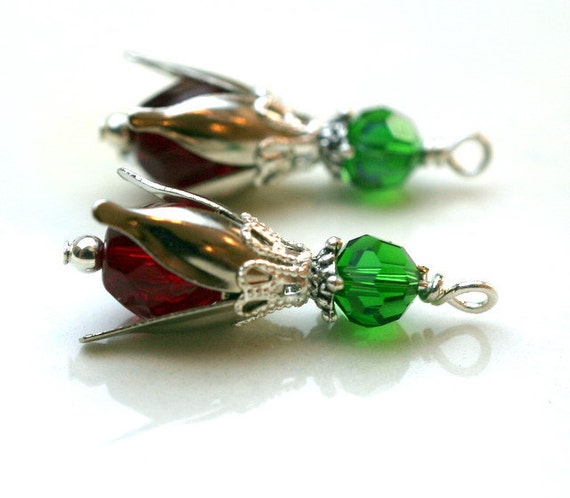 Christmas Tulip Flower Dangle Bead Drop Charm Set - 2 Pieces