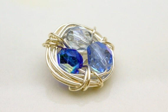 Birds Nest Wirewrapped Mixed Blues Czech Pendant Charm Ring Top Connector