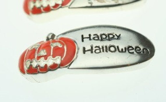 Happy Halloween with Pumpkin Slide Charms - 2 Pieces
