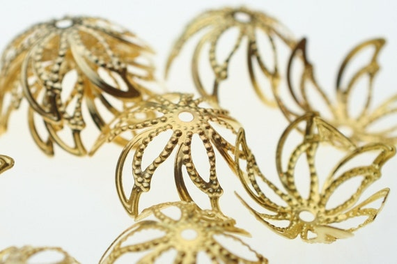Bright Gold Flower Flexible Bead Caps - 24 Pieces
