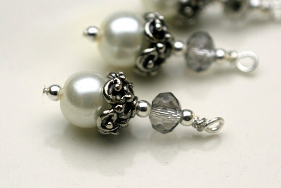 Vintage Style Ornate Antiqu Silver with Pearl and Crystal Bead Dangle Charm Drop Set