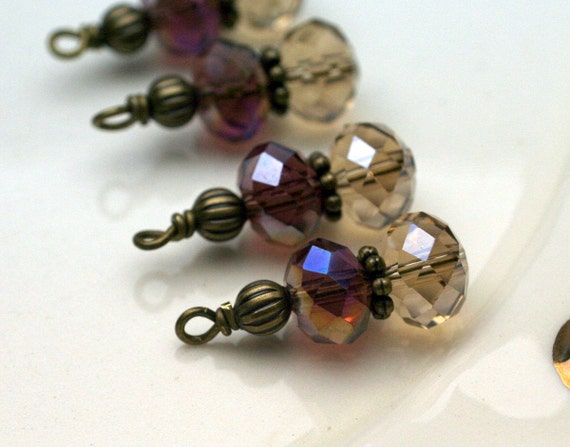 Light Topaz and Purple AB Irridescent Crystals with with Brass Bead Drop Dangle Charm Set - 4 Piece