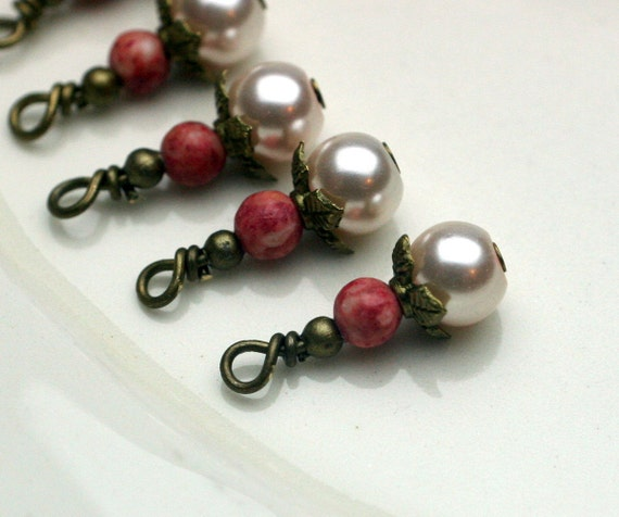 Vintage Style Pearl and Coral Colored Bead Dangle Charm Drop Set - 6 Piece