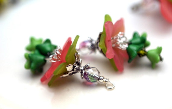 Vintage Style Large Coral and Green Lucite Flower and Czech Crystal Dangle Charm Drop Set - 2 Pieces