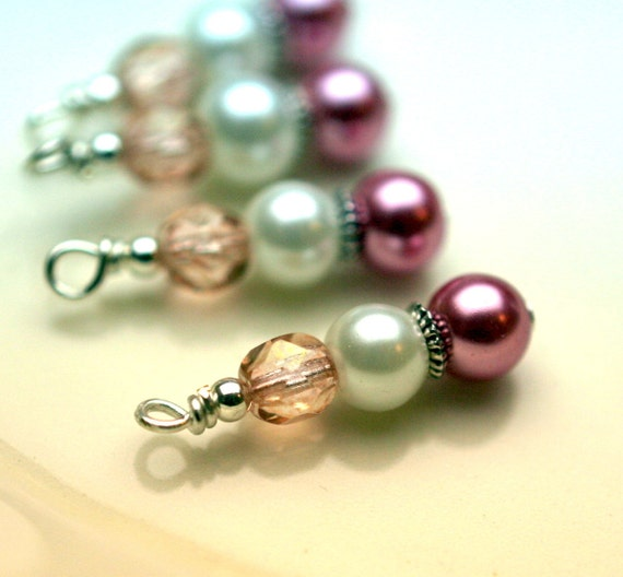 4 Piece Bead Dangle Charm Drop Set In Vintage Style Rose Pink and White Pearl with Czech Pink Crystals