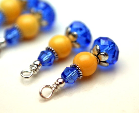 Royal Blue and Yellow Bead Dangles Set - 4 Piece