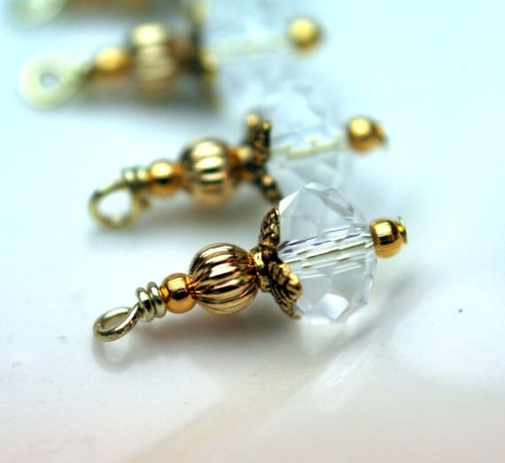 Vintage Style Clear Crystal and Golden Bead Dangles Charm Drop Set - 6 Pieces