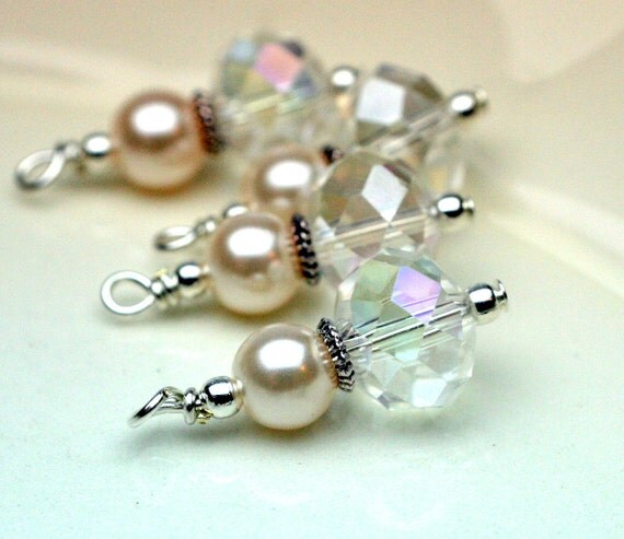 Bead Dangle Charm Drop Set with Clear AB Rondelle Crystals and Pearls - 4 Piece Set